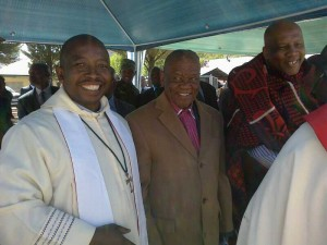Fr Tom on the left with the Prime Minister of Lesotho and His Majesty King Letsie III.
